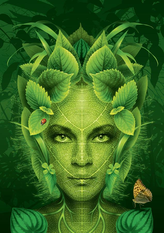 Grüner Blätterkopf